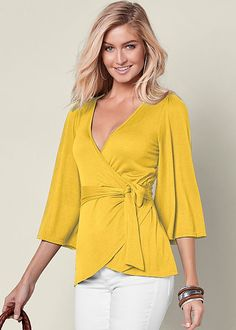 Order a sexy Belted Surplice Top from VENUS. Shop short sleeve tops, tanks, tees, blouses and more at an affordable price today! Blouse Styles, Blouse Designs, Dressy Evening Tops, Hijab Fashion, Fashion Outfits, Colored Skinny Jeans, Surplice Top, Yellow Blouse, Couture Tops
