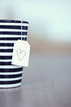 Draw a heart on your tea bag. Cute way to stay in the Valentine's Day spirit <3