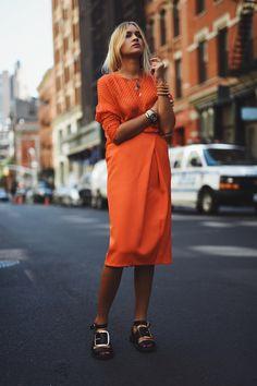 Orange | Street Style | Nina Suess: North Moore St, New York