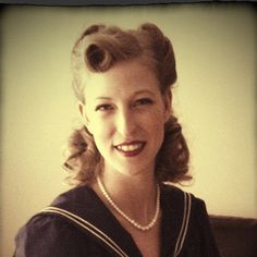 """40s hairstyle for my """"picnic in the 40s"""" theme engagement photoshoot"""