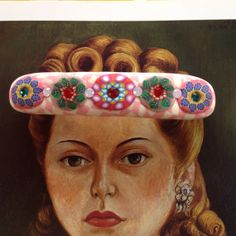 """Pink polymer clay french clip barrette bejeweled with Swarovski crystals.  3.5"""" X .75"""""""