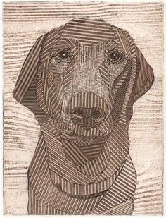 Labrador Retriever, Fine Art, Original Print, Collagraph, Dog - Charlie 6