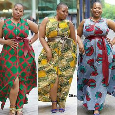 Credit to : 'Deliciously curvy' range by Gitas Portal African Dresses For Women, African Print Dresses, African Print Fashion, African Attire, African Wear, African Fashion Dresses, African Women, Curvy Fashion, Plus Size Fashion