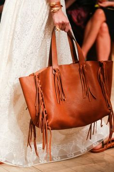 Valentino Tan Fringed Tote Bag - yes please. Runway Spring 2014