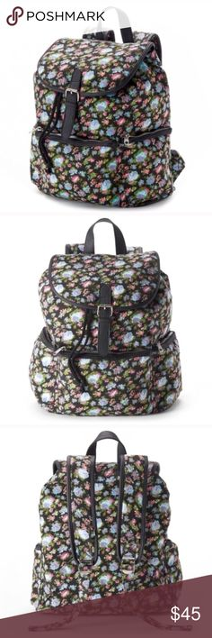 Floral backpack purse PRODUCT FEATURES Floral design PRODUCT DETAILS 15''H x 10''W x 6''D Top handle: 3.5'' Top handle & adjustable straps Magnetic snap & drawstring closures Exterior: 3 pockets Interior: zip pocket Canvas coachella edc festival 2.20 Bags