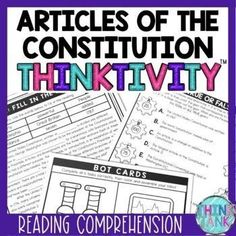 Articles of the Constitution Thinktivity™ Reading Comprehension Reading Comprehension Activities, Reading Passages, Social Studies Activities, Interactive Activities, History Activities, Revolutionary War Battles, Upper Elementary Resources, Middle School History, Branches Of Government