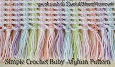 Simple Beautiful Crochet Baby Afghan Pattern in English Crochet Afghans, Baby Afghan Crochet Patterns, Baby Afghans, Baby Blanket Crochet, Crochet Stitches, Knitting Patterns, Baby Blankets, Crochet Blankets, Beau Crochet