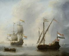 Jacob Adriaensz Bellevois -A Dutch galley and man-of-war on a calm sea.
