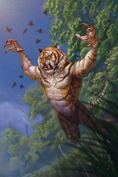 Weretiger by metalratrox on DeviantArt Dark Fantasy Art, Fantasy Artwork, Fantasy Creatures, Mythical Creatures, Fantasy Character Design, Character Art, Tiger Artwork, Badass Drawings, Fantasy Races