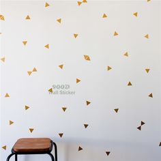 Gold triangle Wall Sticker, Removable home decoration art Wall Decals Free Shipping