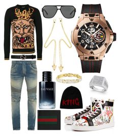 """Casual"" by pitbull8382 on Polyvore featuring Christian Louboutin, Balmain, Dolce&Gabbana, Gucci, Christian Dior, Hublot and Marco Ta Moko"