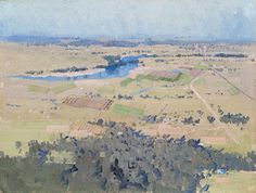 """In 1806 Joseph Baylis sold his land at Castlereagh to Andrew Thompson. """"Study for Nepean River Landscape"""" c.1922, oil on canvas board, 31.5cm x 42cm by Elioth Gruner."""