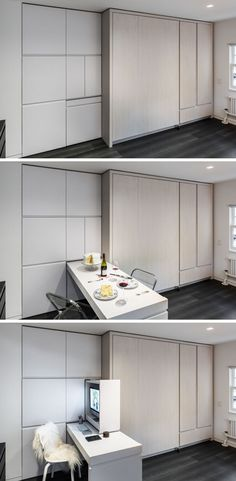 New House West Village Micro Apartment Turns into a Multi-Functional Home Micro Apartment, Small Apartment Design, Apartment Living, West Village, Attic Spaces, Tiny Spaces, Small Apartments, Tiny House Furniture, Space Saving Furniture