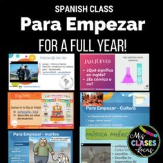 This bundle includes everything you need for 1 full year of bell ringers in Spanish class. It could be adapted for all levels including Spanish I, Spanish II, Spanish III, Spanish IV & Exploratory Spanish as a classroom management routine class starter, or