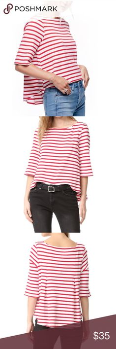 Free People Shirt Free People Red and White striped shirt. Never worn. Size XS Tops