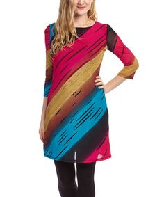 This Blue & Pink Abstract Stripe Three-Quarter Sleeve Dress by  is perfect! #zulilyfinds