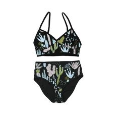 Cactus Bralette and Underwear set in Pale Pink, Yellow Ochre, Mint Green and Blue Mint on Black