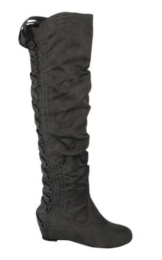 Gray Lace-Up Back Boot