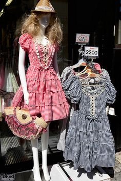 Spring 2011 gingham dresses in blue and red on display outside of the Momo Salon on Takeshita Dori in Harajuku.