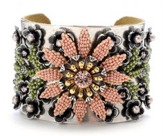 Miriam Haskell Flower Silver Cuff