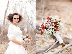 great idea for a winter bride. Love this bridal bouquet with the babies breath, red berries, and dusty miller