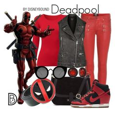 """""""Deadpool"""" by leslieakay ❤ liked on Polyvore featuring Uniqlo, Paige Denim, Topshop, NIKE, Quay, Kenneth Cole, women's clothing, women, female and woman"""