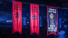 Raptors Unveil Chionship Banner-Toronto Raptors Banner Night