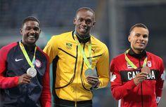 Usain Bolt (ouro) Justin Gatlin (prata) e Andre De Grasse (bronze)