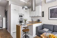 Kitchen Decor for Small Apartment – Dining Room Ideas Loft Interior, Small Apartment Interior, Apartment Design, Kitchen Interior, Interior Design Living Room, Kitchen Decor, Kitchen Design, Small Condo Decorating, Studio Loft