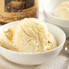 Homemade Maple Ice Cream - the perfect addition to every Thanksgiving dessert!