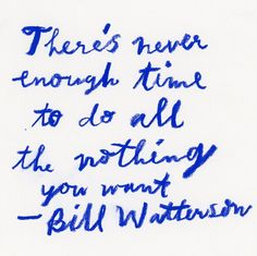 """There's never enough time to do all the nothing you want."""