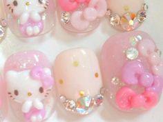 more hello kitty nails Kawaii Nail Art, Cute Nail Art, 3d Nail Art, Beautiful Nail Art, Nail Polish Art, Nail Polish Designs, Latest Nail Designs, Asian Nails, Hello Kitty Nails