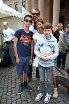 (R-L) Denmakr's HH Prince Felix, HH Prince Nikolai with their mother HH Countess Alexandra of Frederiksborg and step dad Martin Jorgensen at the Parkinson Unity Walk 2014