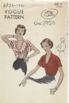 1950 Vintage VOGUE Sewing Pattern B34 BLOUSE (1536) | eBay