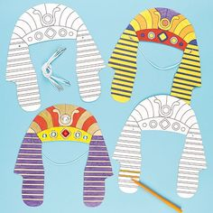 Transform into King Tut or Cleopatra with an Egyptian Headdress! Pre-cut and pre-printed cardboard headdress for children to colour with acrylic paint or fibre pens and then wear. Ancient Egypt Crafts, Ancient Egypt For Kids, Egyptian Crafts, Egyptian Party, Egyptian Costume Kids, Art For Kids, Crafts For Kids, Bible Crafts, Moses Crafts