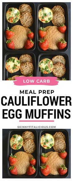 Made with cauliflower rice, these eggs have 6 grams of protein & less than 1 gram of carbs. An easy make ahead breakfast! Healthy Muffin Recipes, Healthy Gluten Free Recipes, Primal Recipes, Beef Recipes, Whole Food Recipes, Low Calorie Breakfast, Healthy Low Calorie Meals, Healthy Meal Prep, Low Calorie Recipes