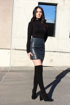 Girly Outfits, Skirt Outfits, Black Leather Mini Skirt, Charcoal Color, My Style, Model, How To Wear, Perfect Fit, Design Ideas