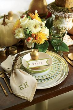 Layers of Linens | Dress to impress this holiday season. The entire Thanksgiving holiday is centered around food—so it follows naturally that our best Thanksgiving décor ideas revolve around setting a beautiful, festive table. There's nothing worse than centerpieces that block conversation or place cards that lead to confusion. We've gathered our favorite Thanksgiving decorations to make your holiday prep a cinch. Once you have your occasion-worthy Thanksgiving menu and your splurge-worthy