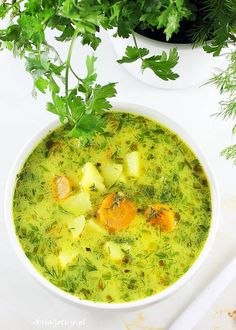 Zupa koperkowa. Polish dill soup. Vegan Recipes, Cooking Recipes, Polish Recipes, Grilling, Good Food, Curry, Food And Drink, Soup, Meals