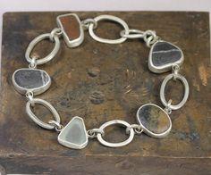 Items similar to Stone and Sea Glass Bracelet on Etsy Rock Jewelry, Sea Glass Jewelry, Resin Jewelry, Stone Jewelry, Silver Bracelets, Jewelry Bracelets, Jewlery, Egyptian Jewelry, Sterling Silver Jewelry