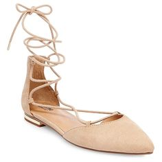 Women's Gretel d'Orsay Ghillie Pointed Toe Lace Up Ballet Flats - Taupe (Brown) 6