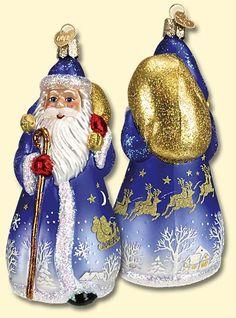 Glistening Midnight Santa,  Christmas Glass Ornaments  www.oldworldchristmas.com