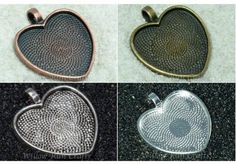"SQUARE ALLOY PENDANT TRAY 1/"" INCH BLANK BEZEL CHARM LOCKET JEWELLERY CRAFT HOBBY"