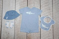 Gymboree Toothy Grin 3 6 m shark short romper, bib, socks, 0 6 m hat VW313 #Gymboree #Everyday