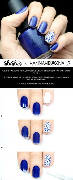 White and Blue Floral Nail Tutorial - 15 Color Block Nail Art Tutorials for Summer 2015 GleamItUp Trendy Nail Art, Nail Art Diy, Diy Nails, Color Block Nails, Super Nails, Nagel Gel, Cute Nail Designs, Flower Nails, Nail Tutorials