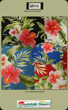 A new fabric pattern for you. Lots of colors in this cotton botanical fabric. Enjoy, Find it at BarkclothHawaii.com