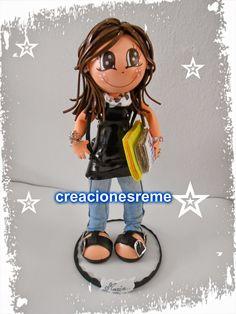 Muñequitas de goma eva Creacionesreme: Muñequita personalizada ,Maria