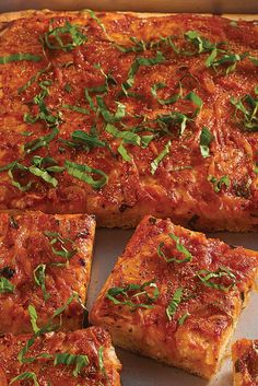 Sicilian-Style Pizza - In Sicily, a generous, almost focaccia-like crust is commonly topped with an abundance of strong cheese and sauce (in that order), along with onions, anchovies, and herbs.  http://www.kingarthurflour.com/recipes/sicilian-style-pizza-recipe