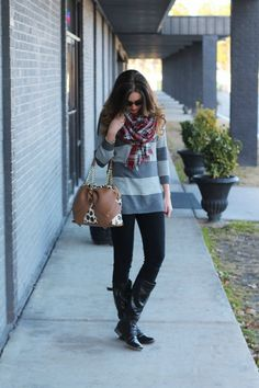 Fashion, Floss and Lip Gloss: Plaid Scarf // Striped Sweater // Basic Black  Casual outfit idea, outfit inspiration, gray striped sweater, black skinny jeans, red plaid scarf, leopard purse handbag, ombre curls, fashion style blogger