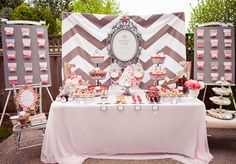 """bridal shower brunch (basic brunch/breakfast foods served up a notch & in creative displays - ex: yogurt parfait """"shooters"""", donut holes in apothecary vases, etc..."""